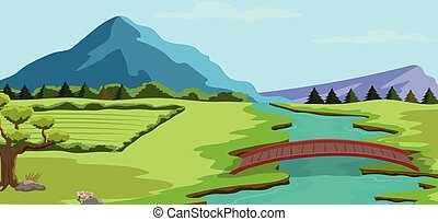 Spring landscape background with a river and mountains and vegetation