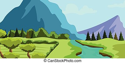 Spring landscape background with a river and mountains