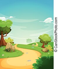 Spring Landscape Background With Path
