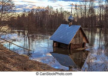 Spring landscape, flooded chapel