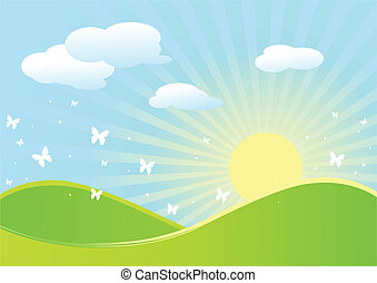Idyllic spring landscape with butterflies and rising sun