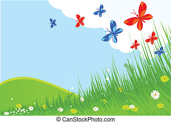 Idyllic spring landscape with butterflies