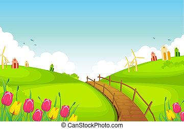 Spring Landscape - illustration of spring landscape with ...