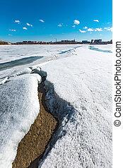 Spring landscape on the Siberian river. Western Siberia, ...