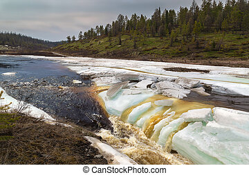 Spring landscape on the stream in South Yakutia, Russia