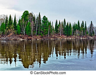 Spring landscape - Spring flood on the river in taiga of...