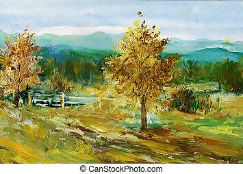 spring landscape - Oil colours landscape. My own arfwork.
