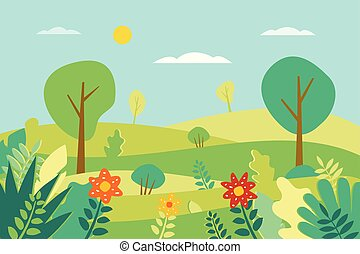 Spring landscape Vector illustration in flat style