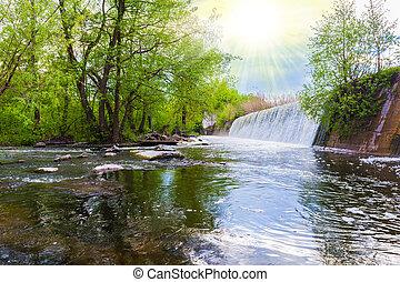 spring landscape waterfall