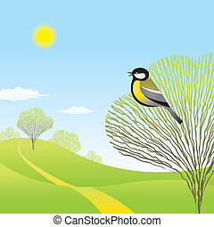 Spring landscape with a bird