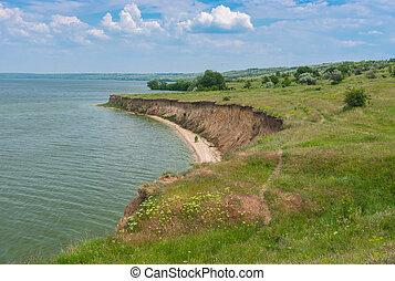 Spring landscape with abrupt Dnipro riverside