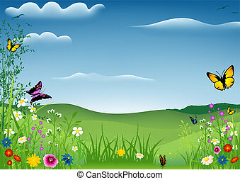 Spring Landscape with Butterflies - Background Illustration, Vector
