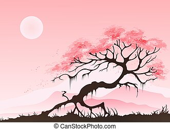 Spring landscape with cherry blossom