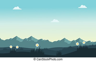 Spring landscape with mountain backgrounds