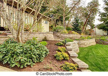 Spring Landscape with retaining walls and garage. - Early...
