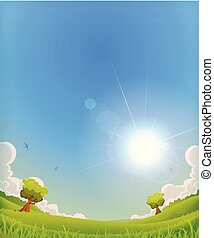 Spring Landscape With Shining Sun Halo