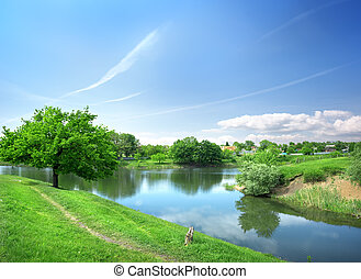 Spring landscape with the river