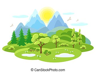 Spring landscape with trees, mountains and hills. Seasonal illustration