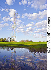spring landscape with utility pole