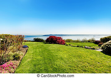 Spring landscape with water view in Tacoma, WA.