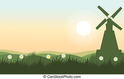 Spring landscape with windmill vector