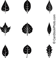 Spring leaf icons set, simple style