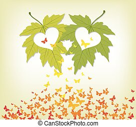 spring leaves with hearts