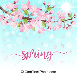Spring lettering. Blossoming tree brunch with spring flowers. Vector illustration.