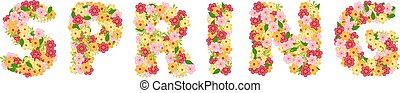 Spring lettering with flowers
