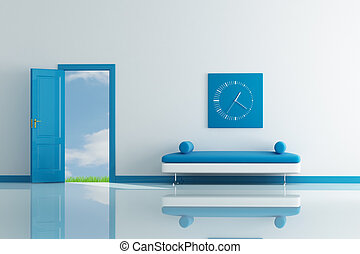 spring living room - open door to blue sky and grass in a...