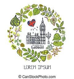 Spring. London landmark. Green leaves wreath, Big Ben