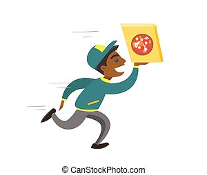 spring, man, ung, pizza., african-american