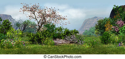 spring meadow - a magical landscape with cherry tree, ...