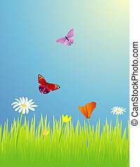 Spring Meadow Illustration - Butterflies in a spring meadow...