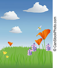 spring meadow illustration with poppies and a bee, etc.