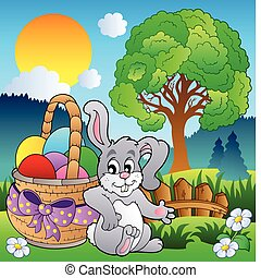 Spring meadow with bunny and basket