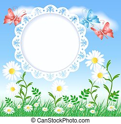 Spring meadow with butterflies, flowers and openwork frame