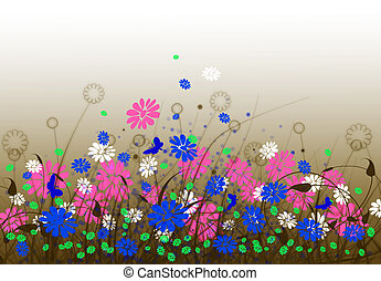 Spring meadow with flowers and sky