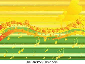 Spring melody - Yellow-green abstract background with the...