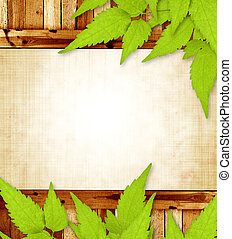 Spring message. Grunge background with wooden frame and green leaves