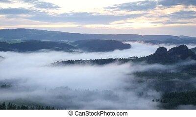 Spring misty morning in forest landscape. Majestic peaks cut...