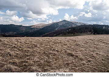 spring mountains with mountain meadow, hills with snow fields and blue sky with clouds