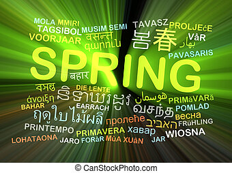 Spring multilanguage wordcloud background concept glowing
