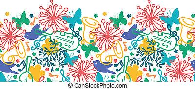 Spring music symphony horizontal seamless pattern background