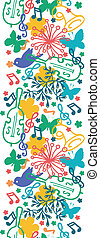 Spring music symphony vertical seamless pattern background