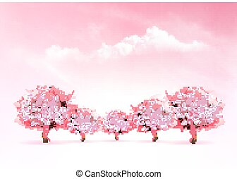 Spring nature background with a pink blooming sakura tree. Vector.