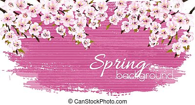 Spring nature background with a pink blooming sakura. Vector.