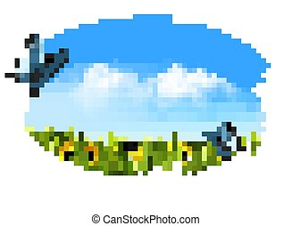Spring nature background with green grass, flowers and blue sky. Vector.