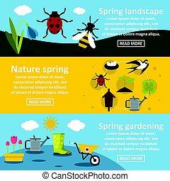 Spring nature banner horizontal set, flat style
