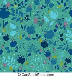 Spring Night Flowers. Vector Seamless Pattern